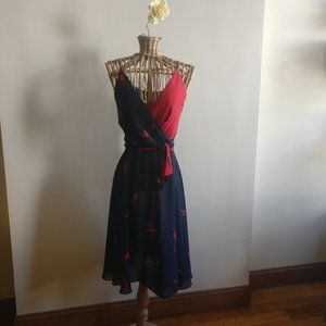 Vintage 70's Two Tone Floral Dress in Blue/Red